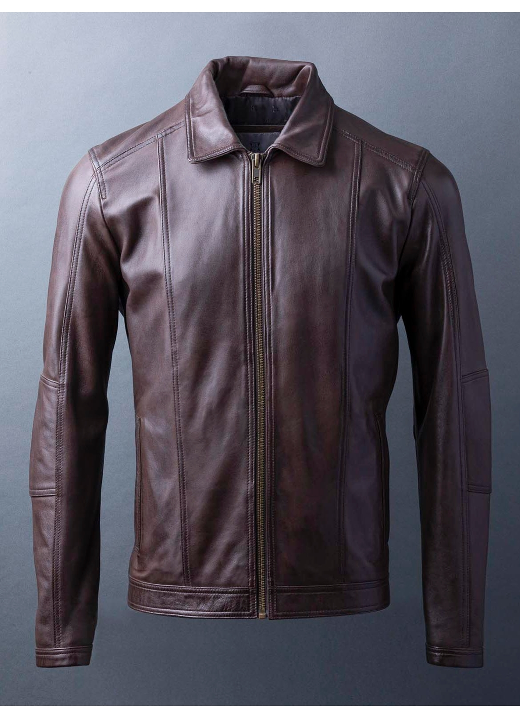 Rothay Collared Leather Jacket in Brown