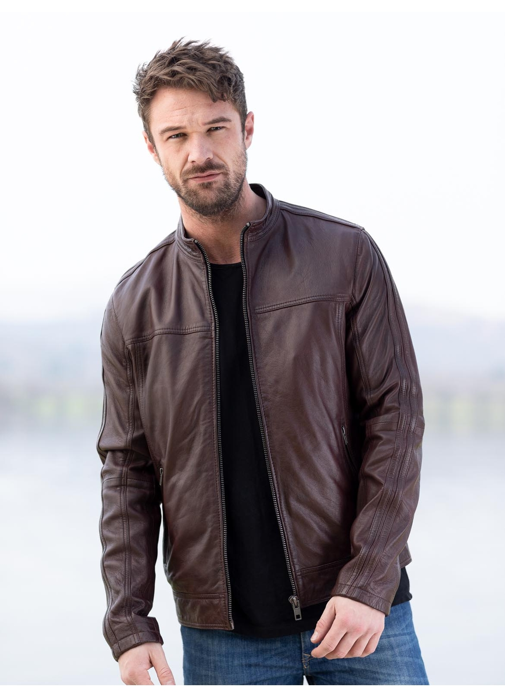 Eamont Leather Jacket in Burgundy