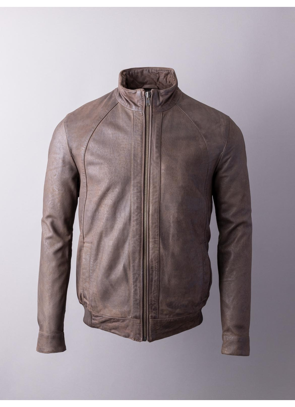 Paveyark Leather Bomber Jacket in Chocolate Brown