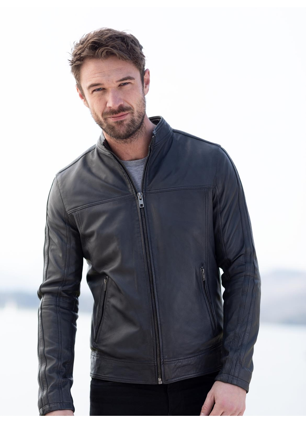 Eamont Leather Jacket in Graphite Grey