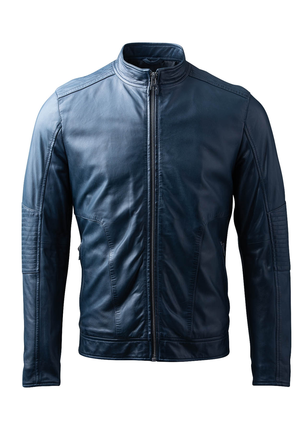 Greystoke Leather Jacket in Blue Night