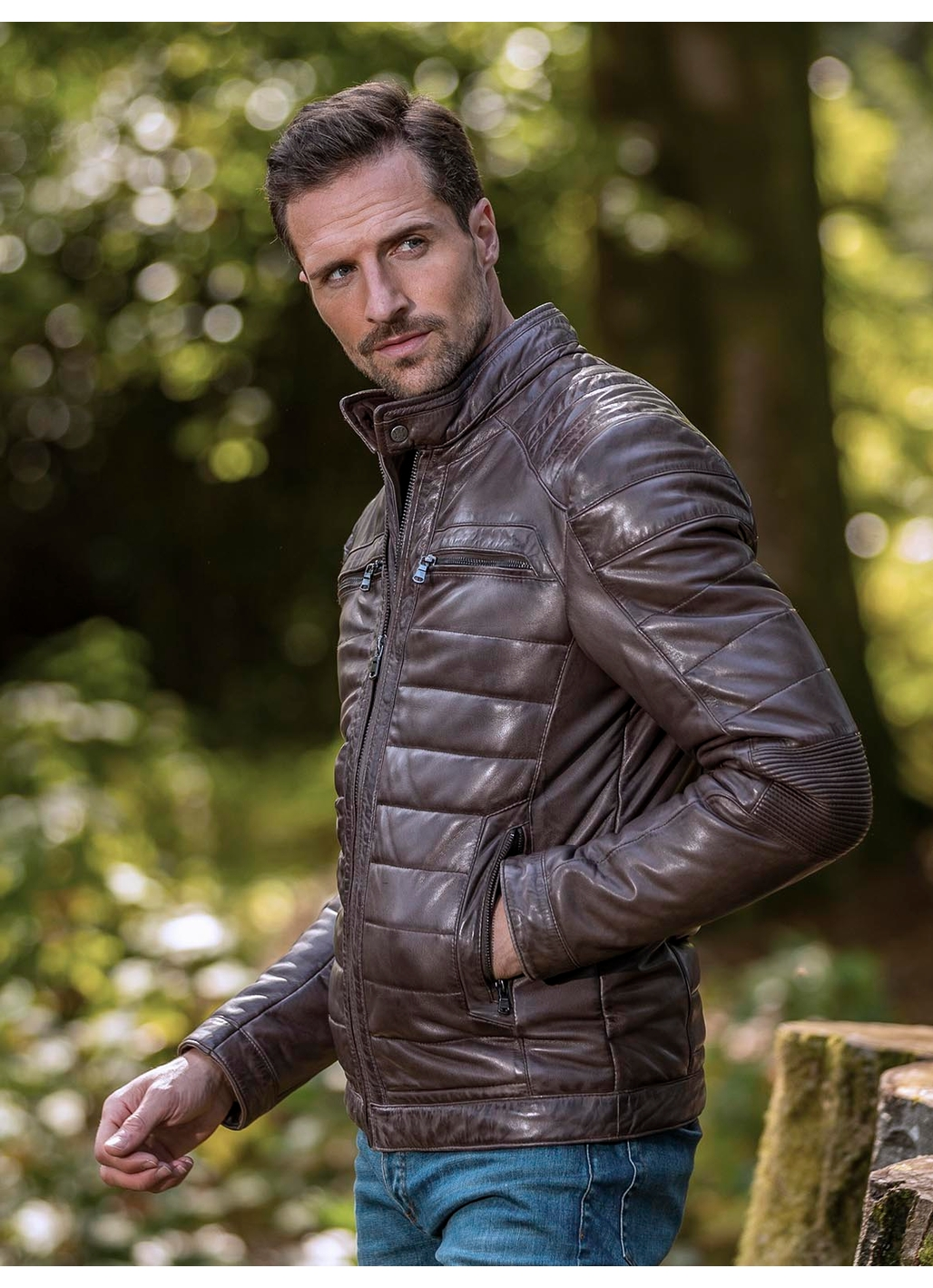 Laithes Leather Biker Jacket in Brown
