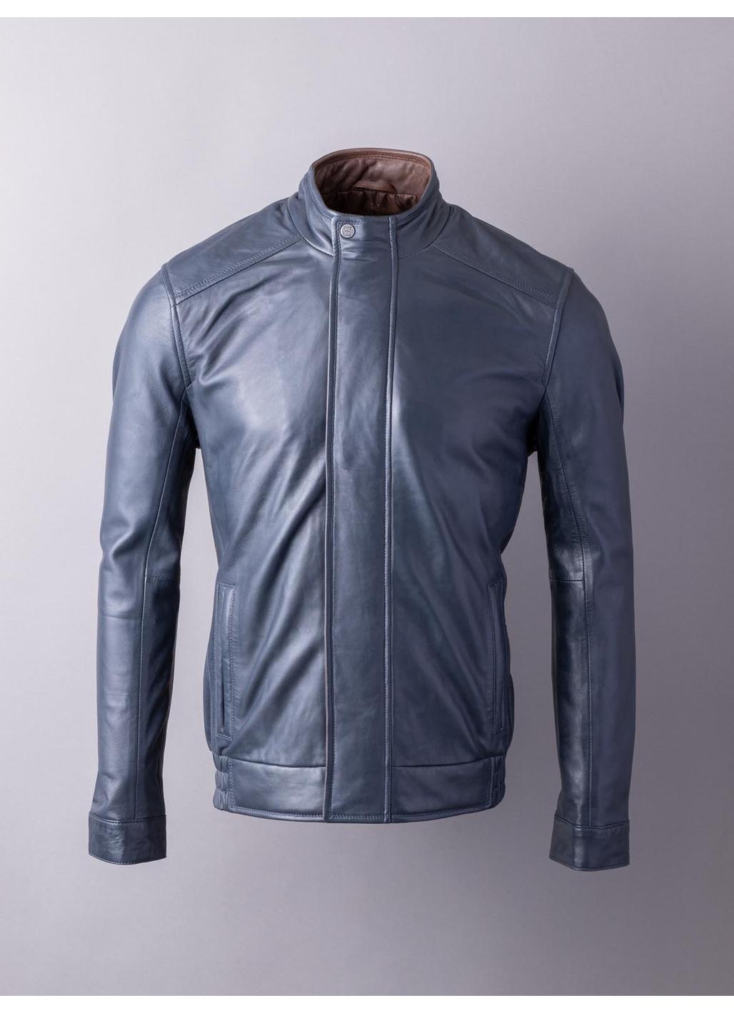 Swinside Leather Bomber Jacket in Navy