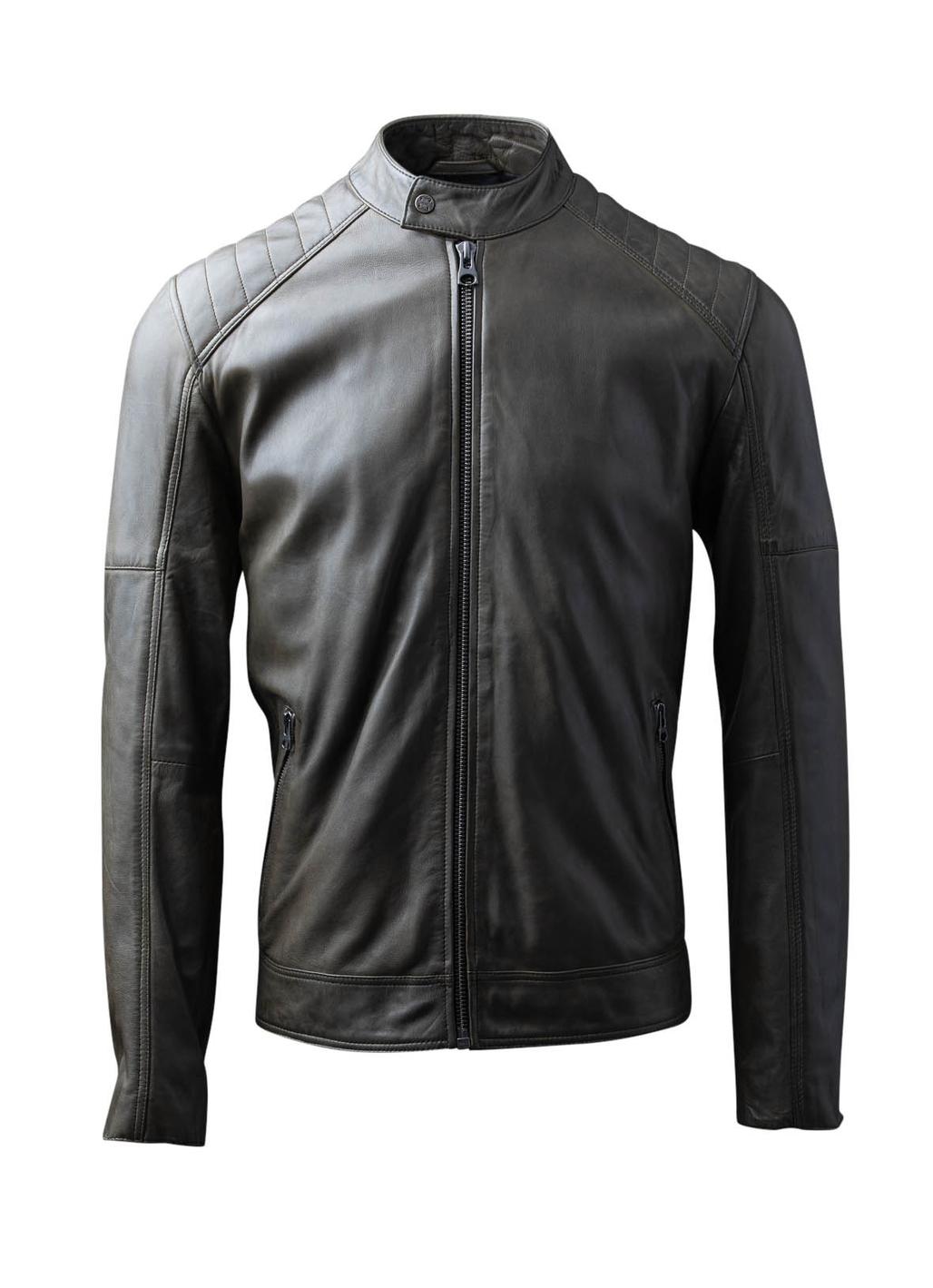 Newland Leather Biker Jacket in Olive