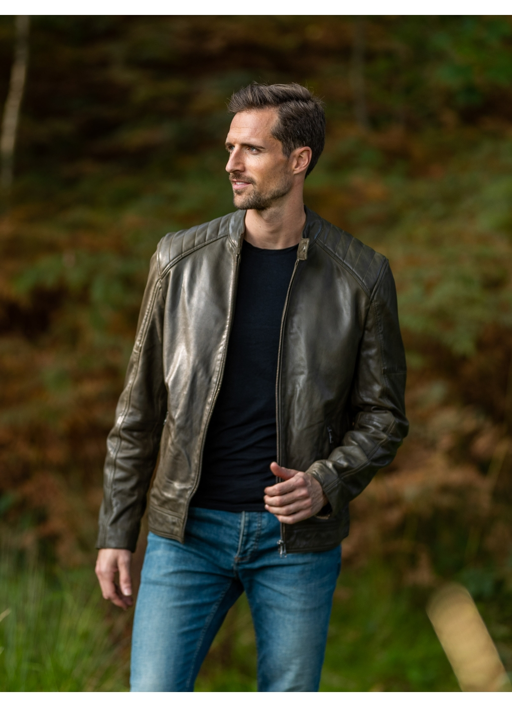 Newland Leather Biker Jacket in Olive