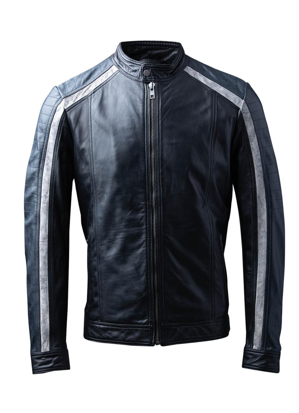 Skelton Leather Biker Jacket in Black