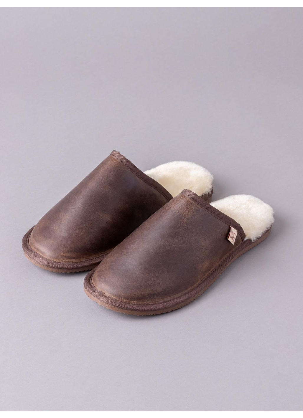Men's Leather Sliders in Brown