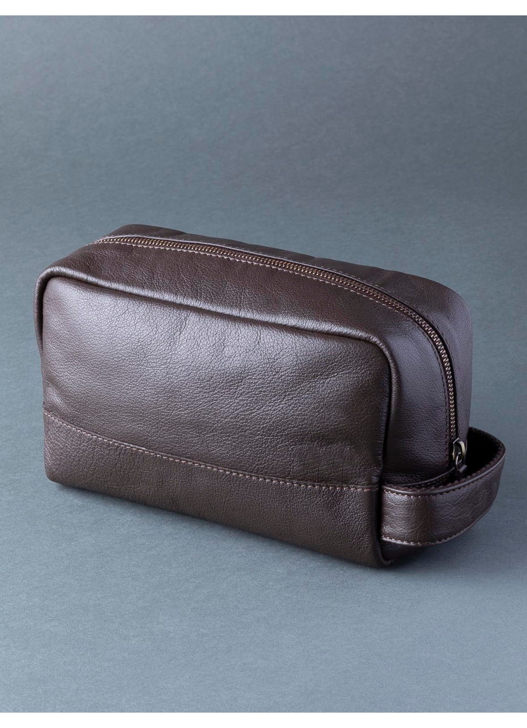 Scarsdale Leather Washbag in Brown