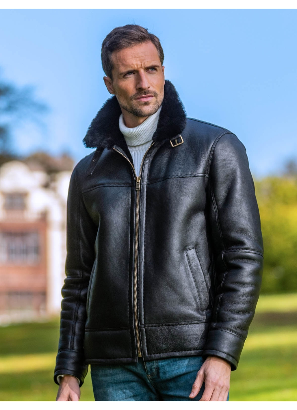 Flyer III UK Sheepskin Flying Jacket in Black