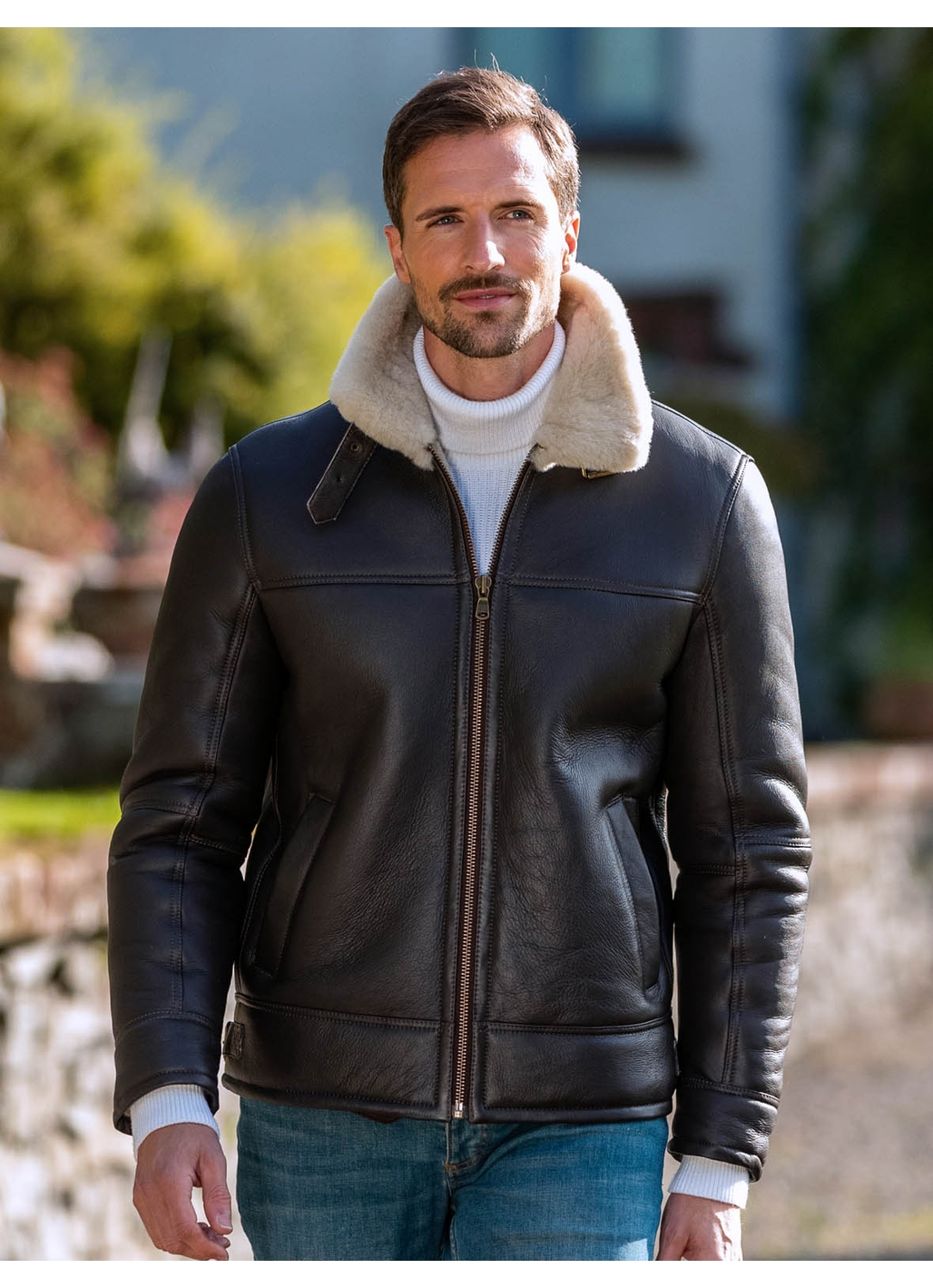 Flyer III UK Sheepskin Flying Jacket in Dark Brown