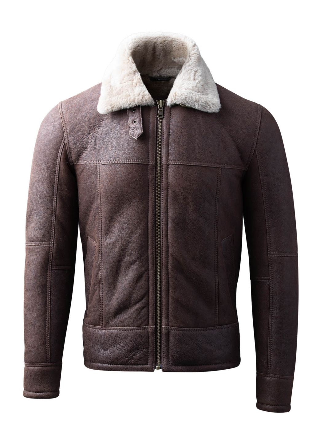 Hawker Sheepskin Flying Jacket in Chocolate Brown