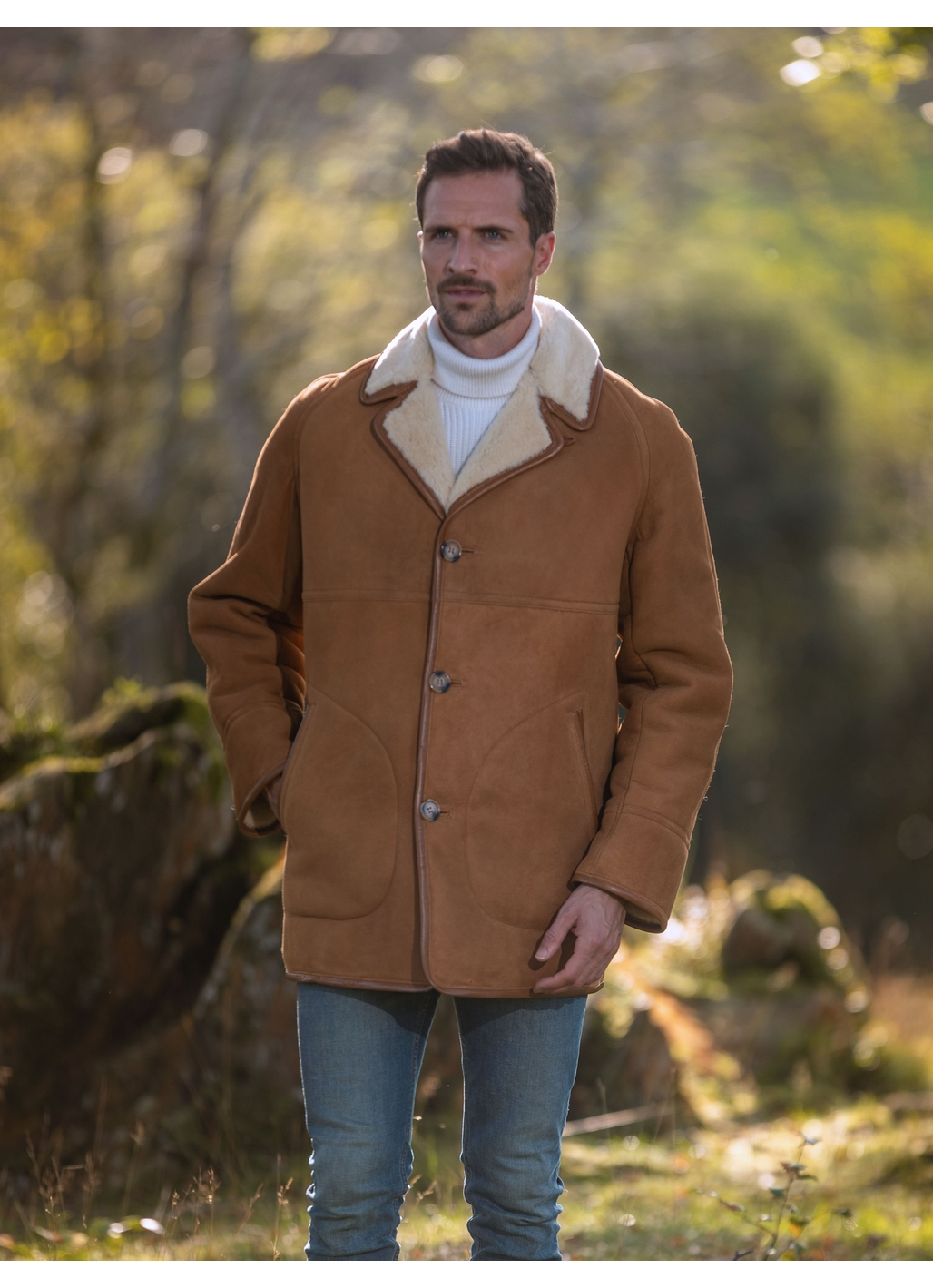 Dock Mid-Length Sheepskin Coat in Tan