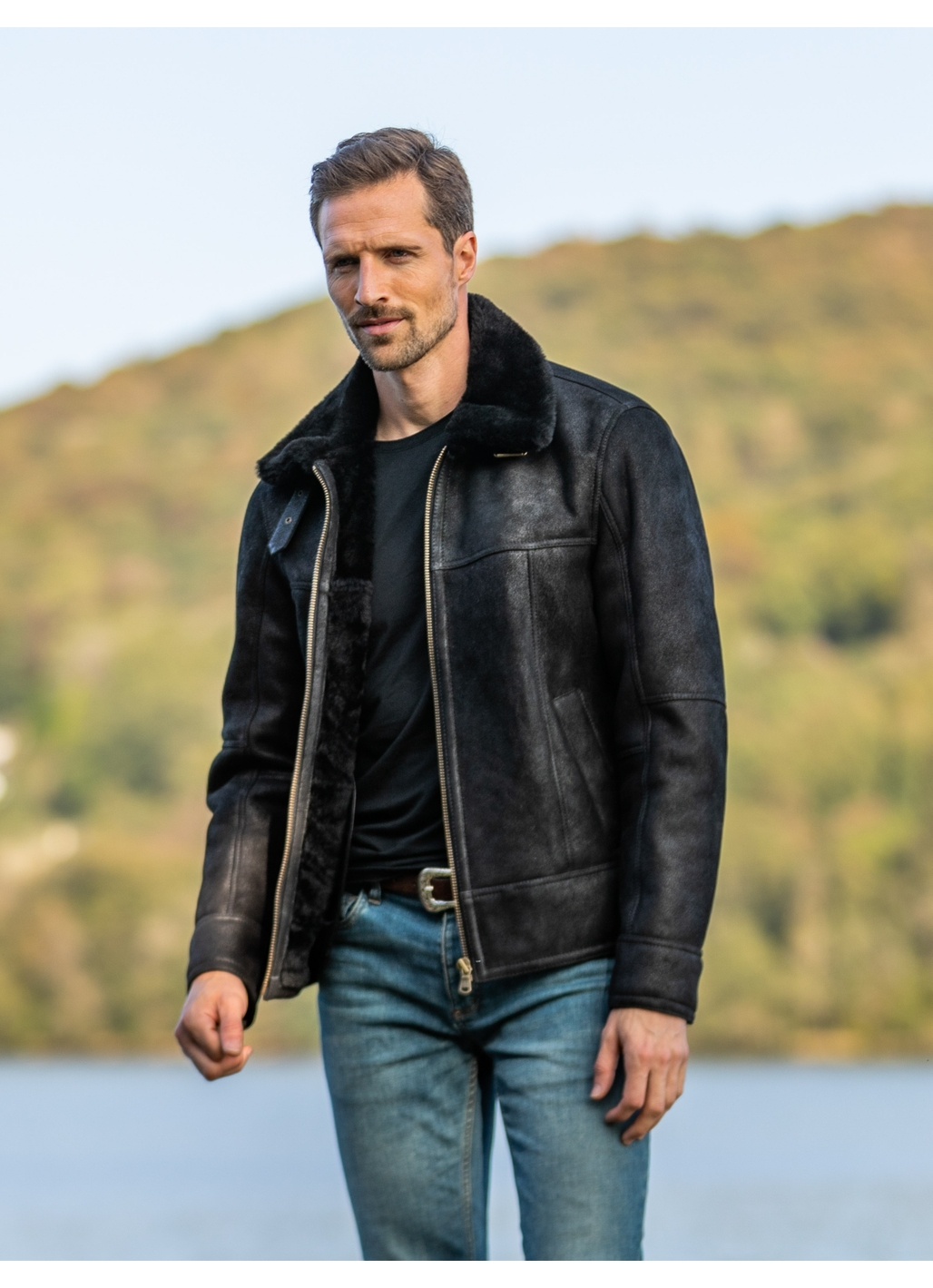 Hawker Sheepskin Flying Jacket in Black