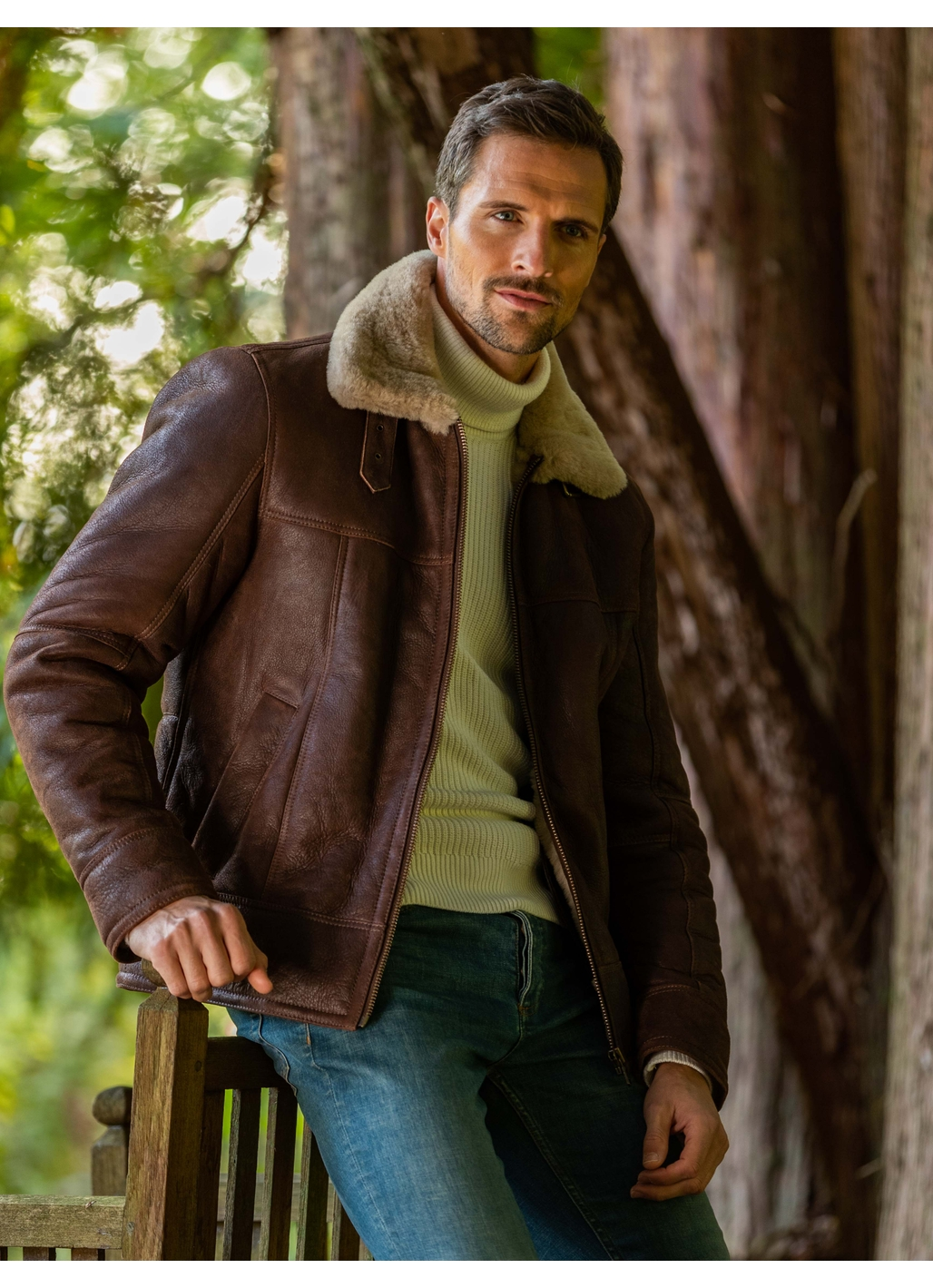 Hawker Sheepskin Flying Jacket in Chocolate Brown