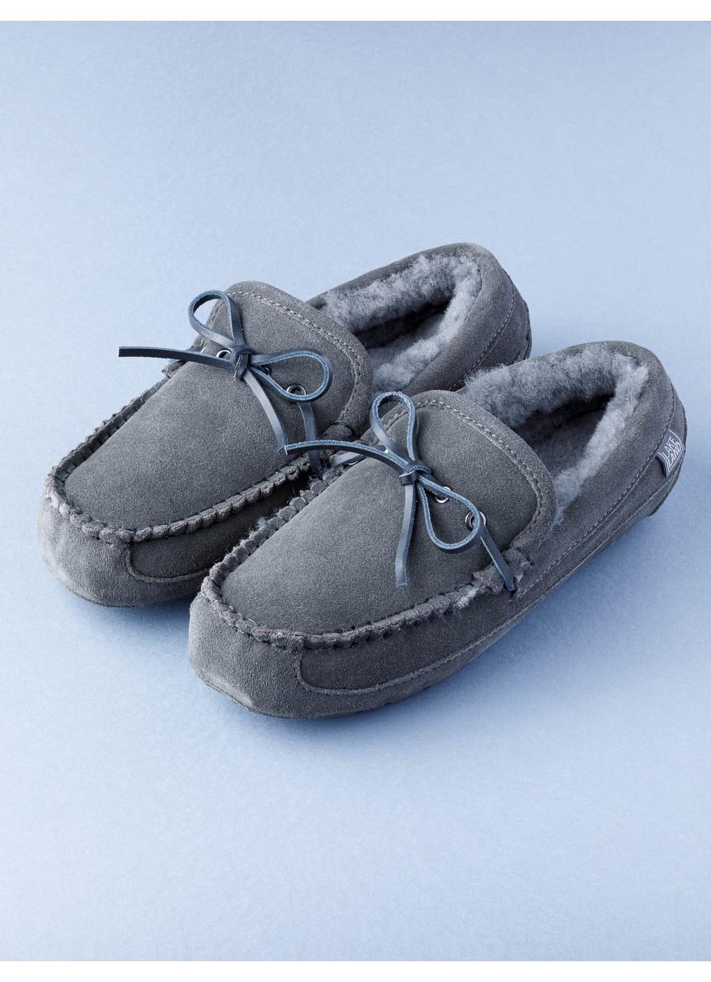 Men's Sheepskin Moccasin Slippers in Grey
