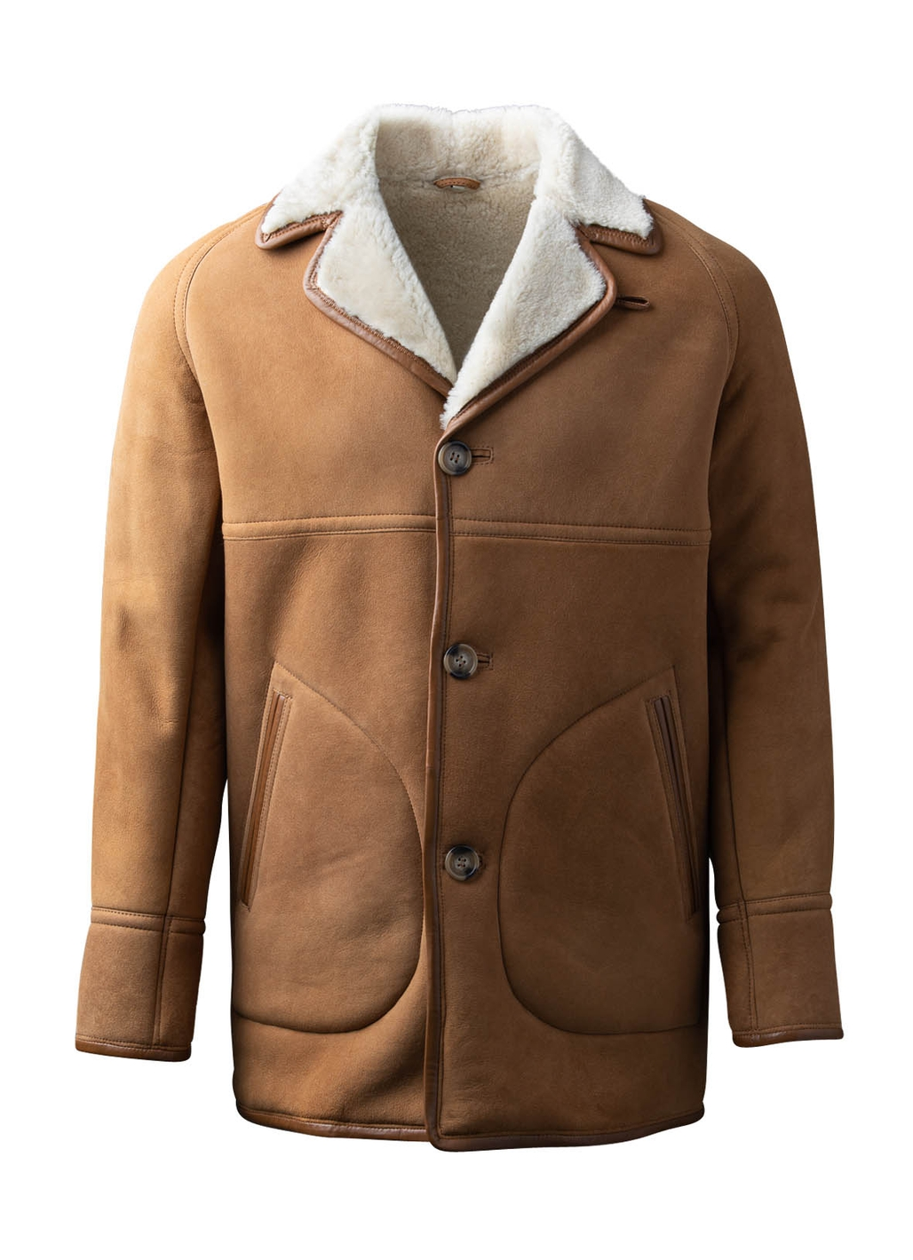 Dock Mid-Length Sheepskin Coat in Tan
