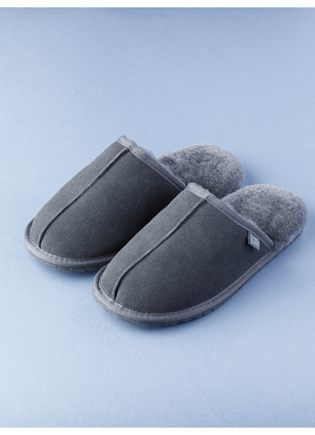 Men's Sheepskin Slider Slippers in Grey