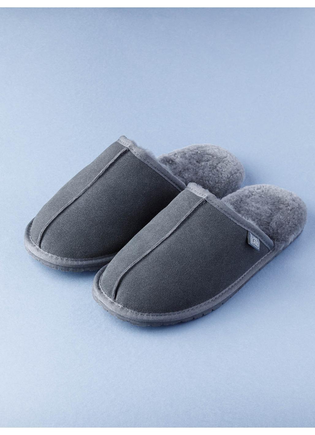 Men's Sheepskin Slider Slippers in Grey