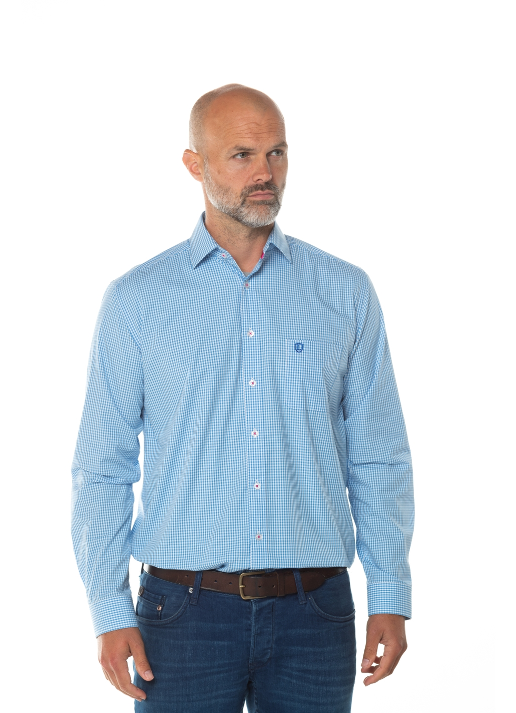 Crosby Check Long Sleeve Shirt in Blue
