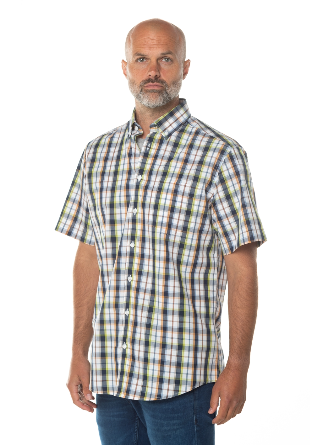 Mark Check Short Sleeve Shirt in White