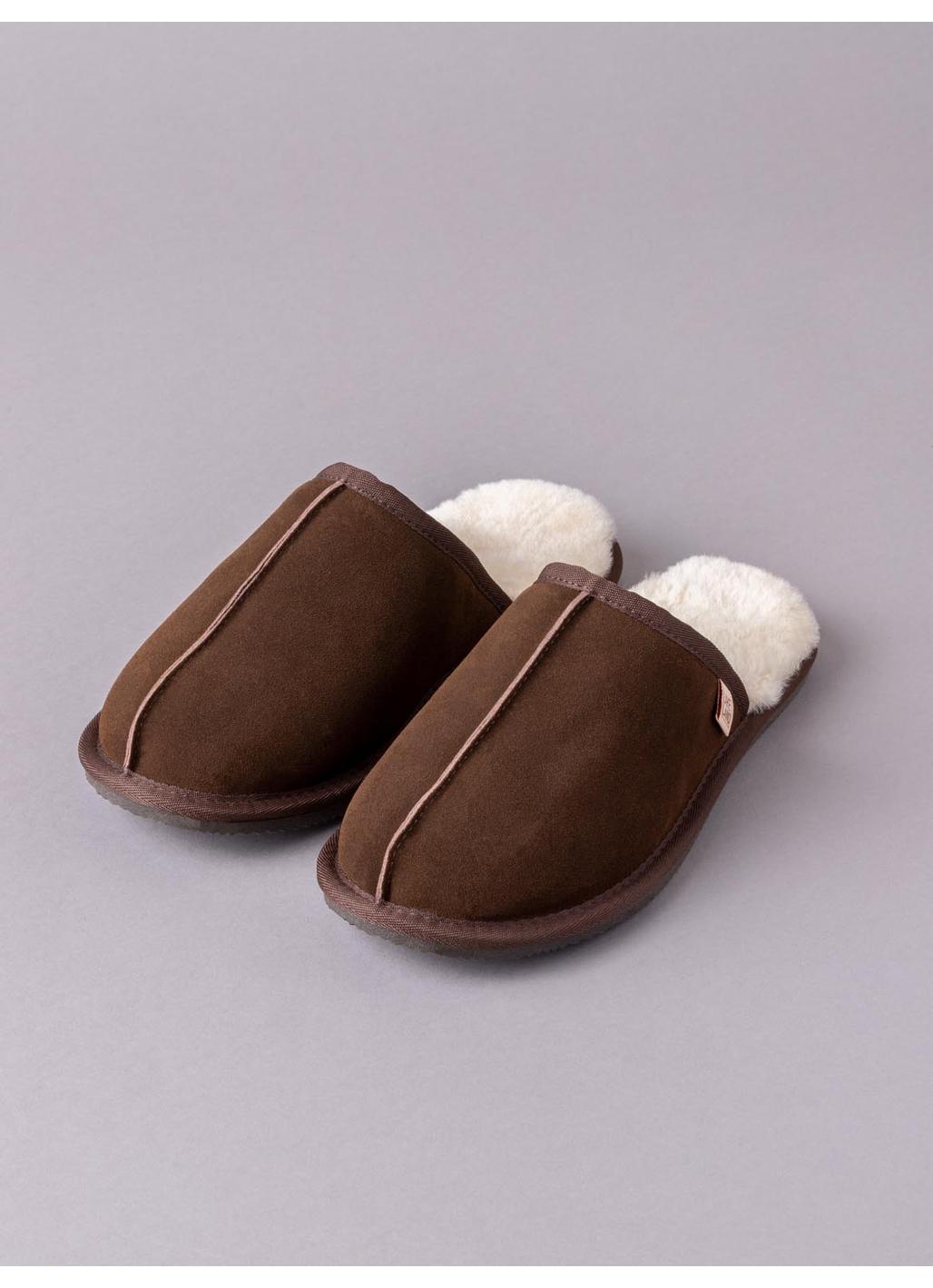 Men's Sheepskin Sliders in Brown