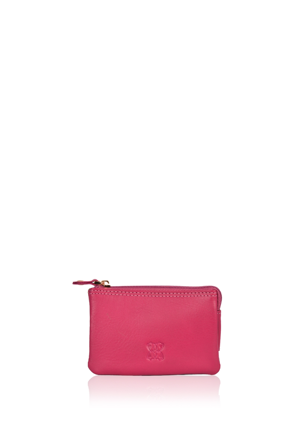 Leather Coin Purse in Cranberry Pink