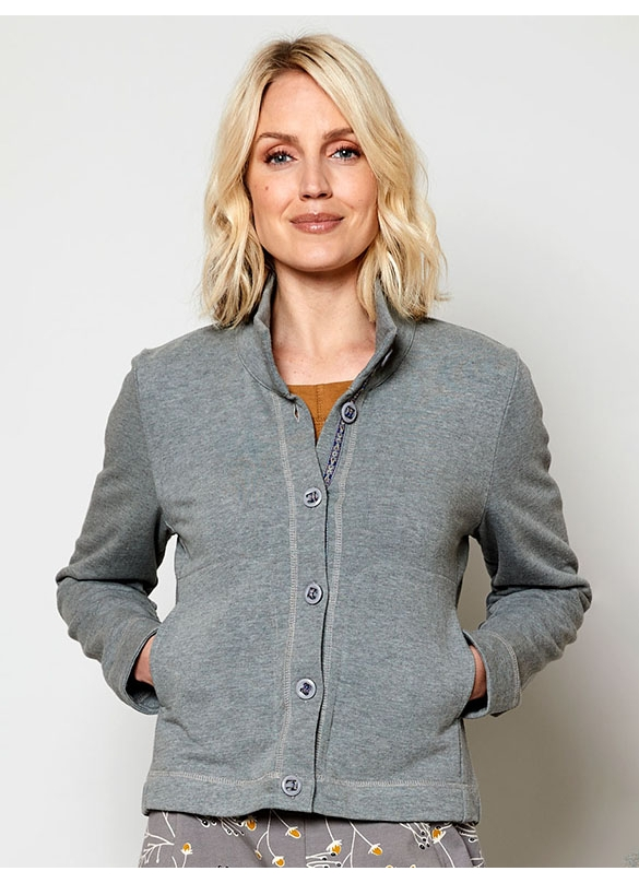 Nomads Organic Terry Cotton Jersey Jacket in Silver