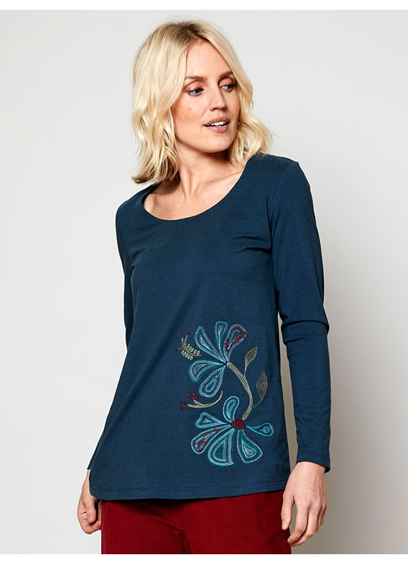 Nomads Organic Cotton Embroidered Top in Deep Sea