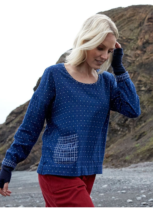 Nomads Double Cotton Reversible Long Sleeve Top in Indigo