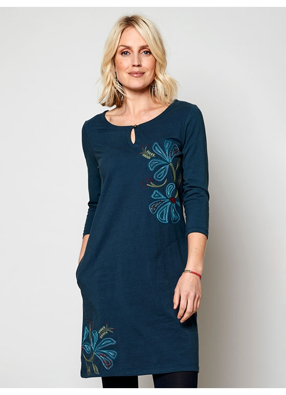 Nomads Organic Cotton Embroidered Tunic Dress in Deep Sea