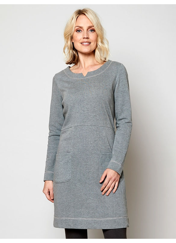 Nomads Organic Terry Cotton Tunic Dress in Grey