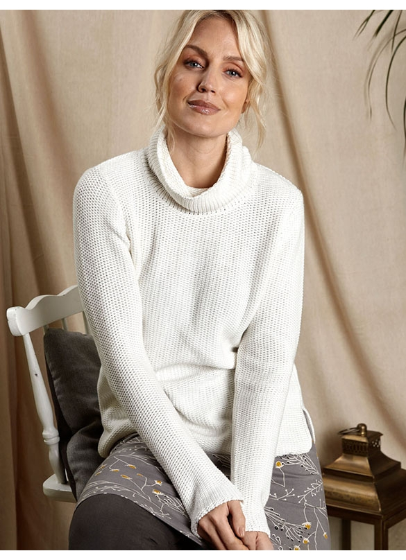 Nomads Organic Cotton Turtle Neck Knit in Ivory