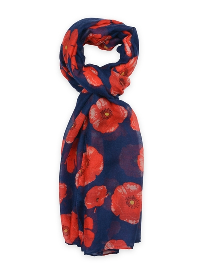 Poppy Lightweight Scarf in Navy and Red