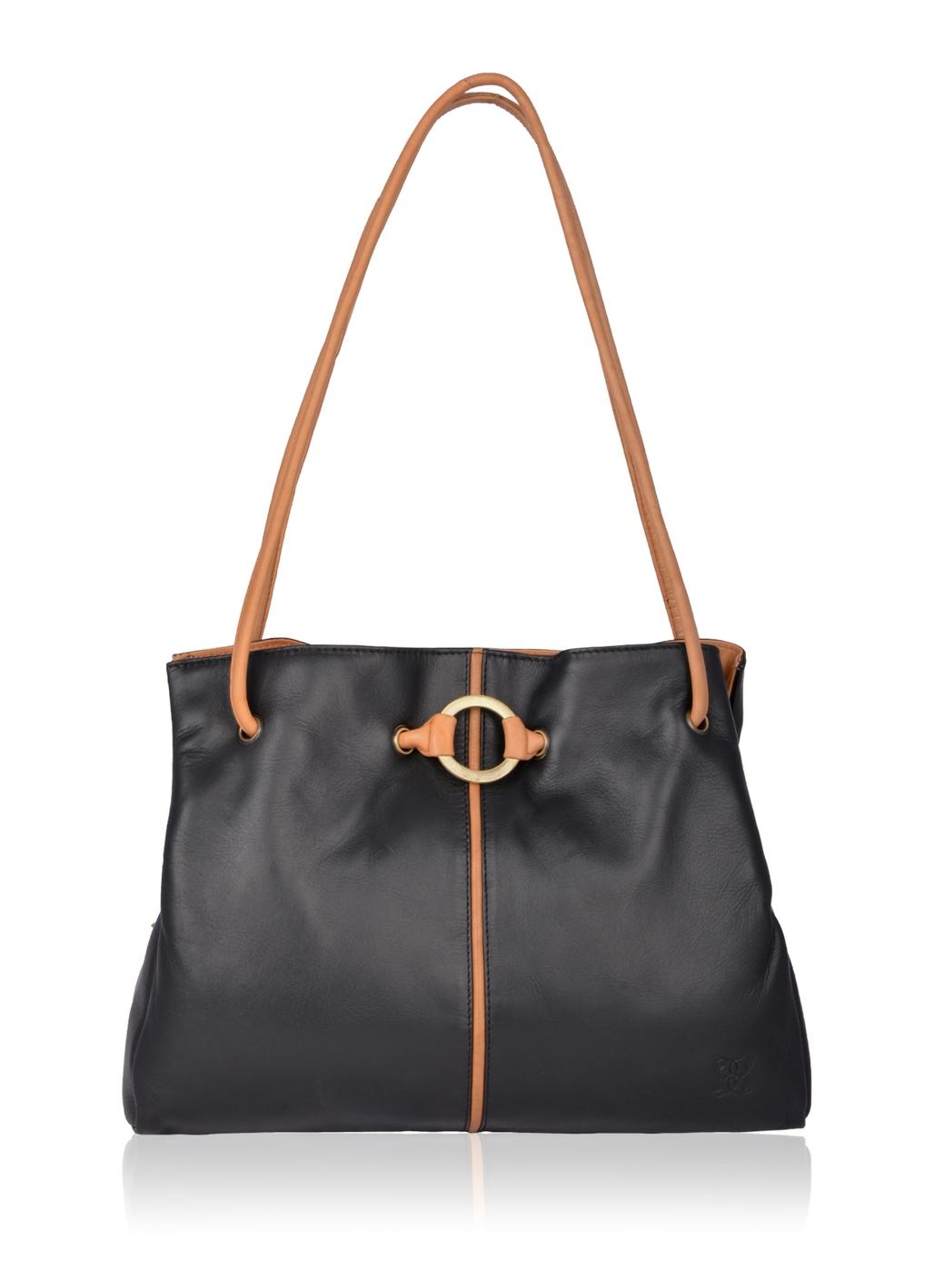 Ring Detail Leather Handbag in Black and Honey
