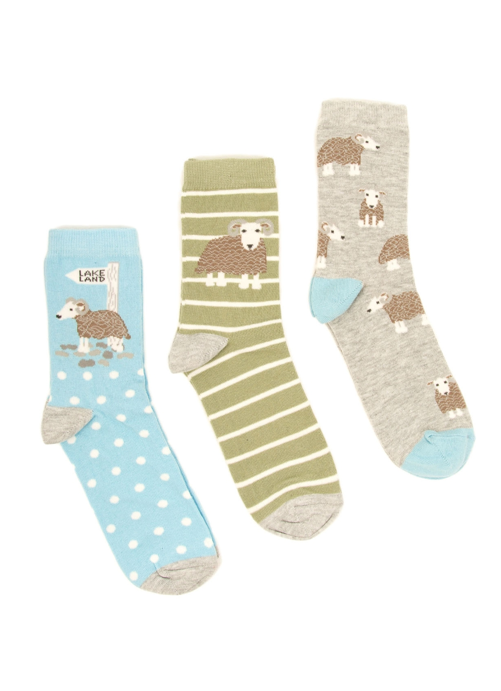 Three Pack - Baarrbara Sheep Print Socks in Multi