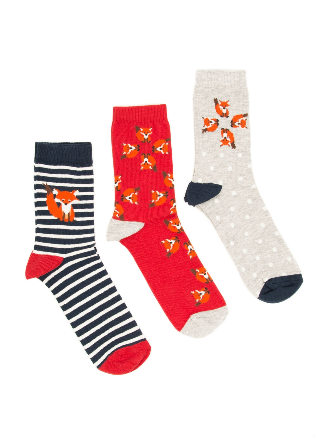 Three Pack - Frankie Fox Socks in Orange