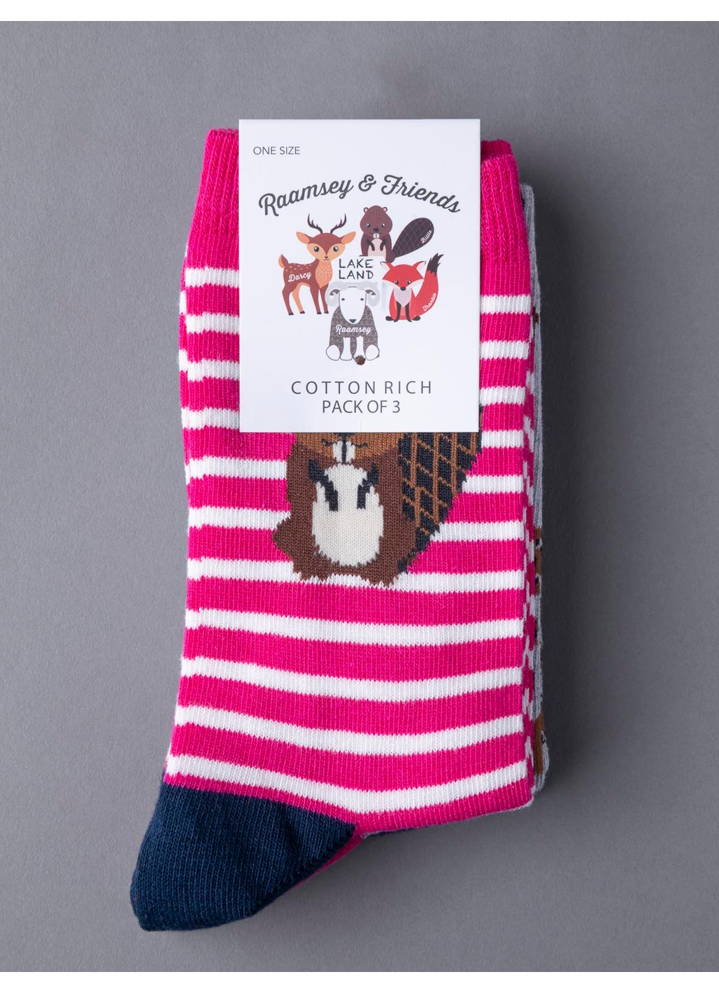 Three Pack - Billie Beaver Socks in Red