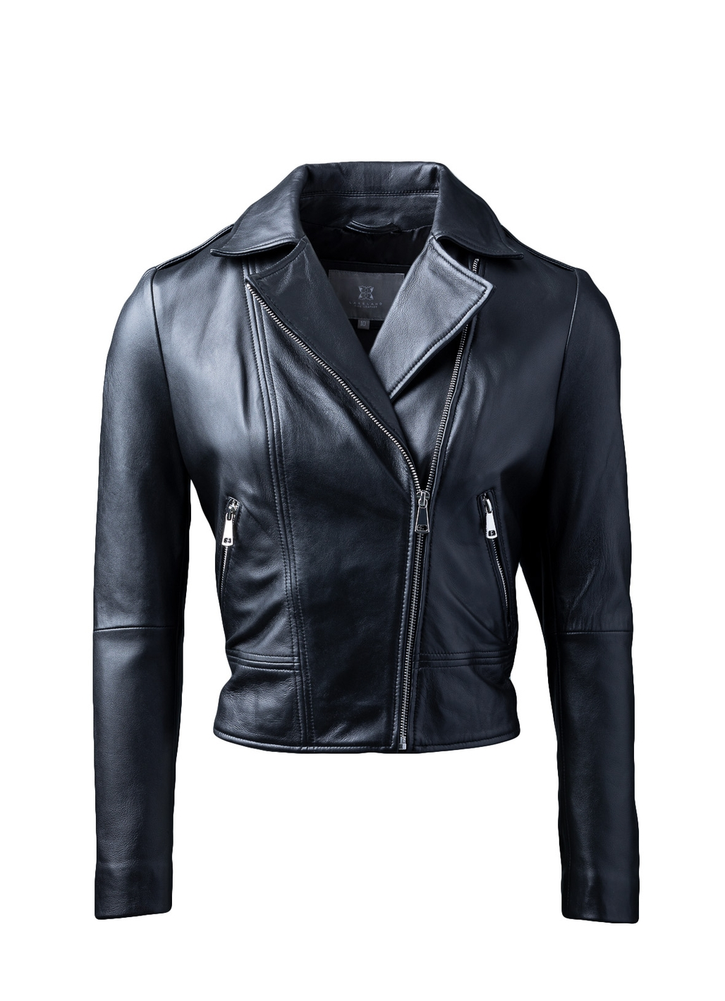 Classic Leather Biker Jacket in Black