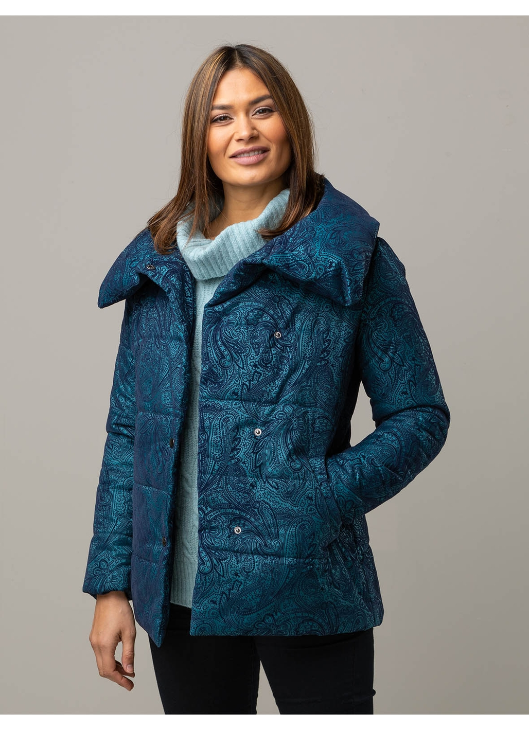 Flo Mid Length Puffer Coat in Teal