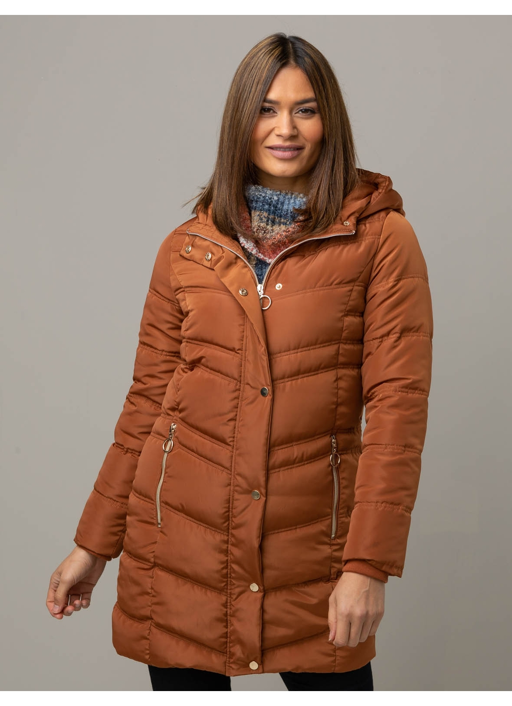 Clara Long Puffer Jacket in Rust