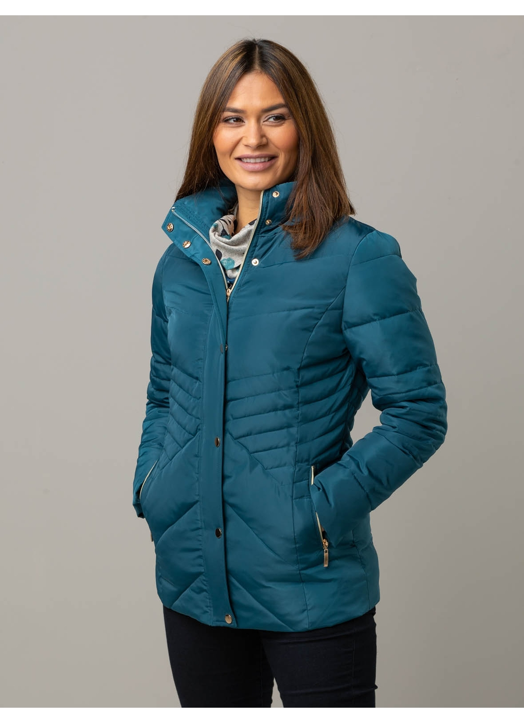 Cerys Puffer Jacket in Teal