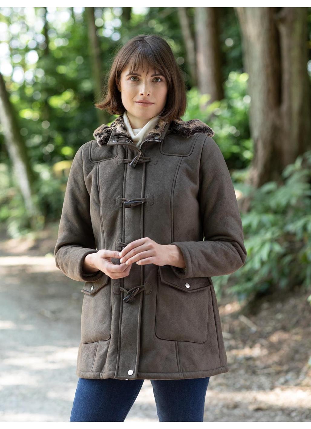 Heversham Faux Sheepskin Duffle Coat in Chocolate Brown