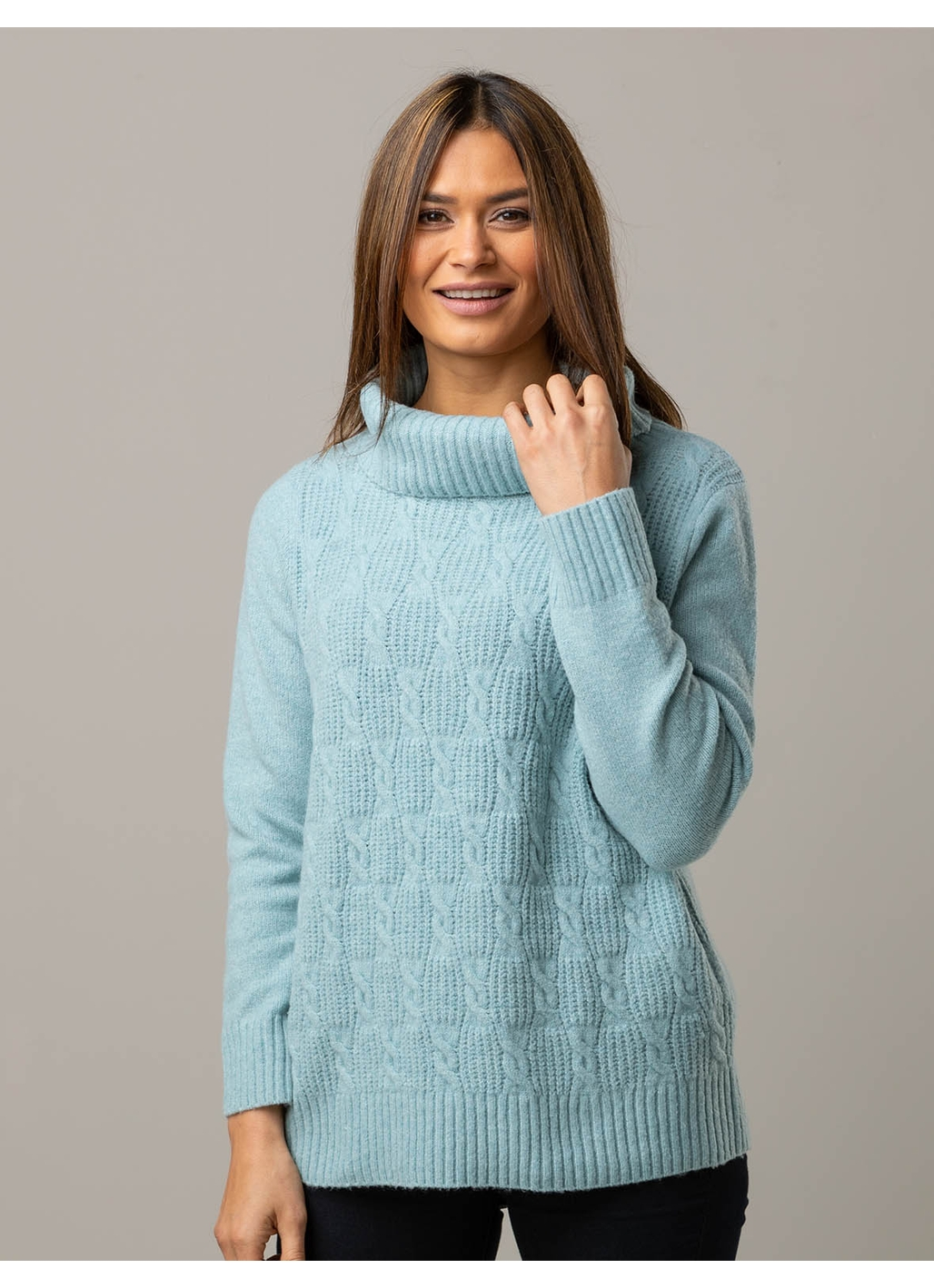 Ada Cable Detail Knitted Jumper In Sage Green