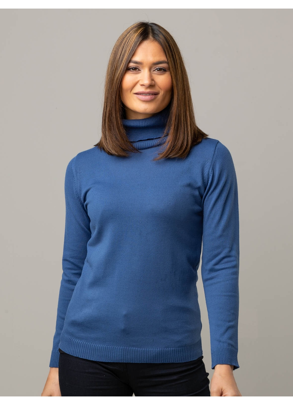 Anna Knitted Roll Neck Jumper in Blue