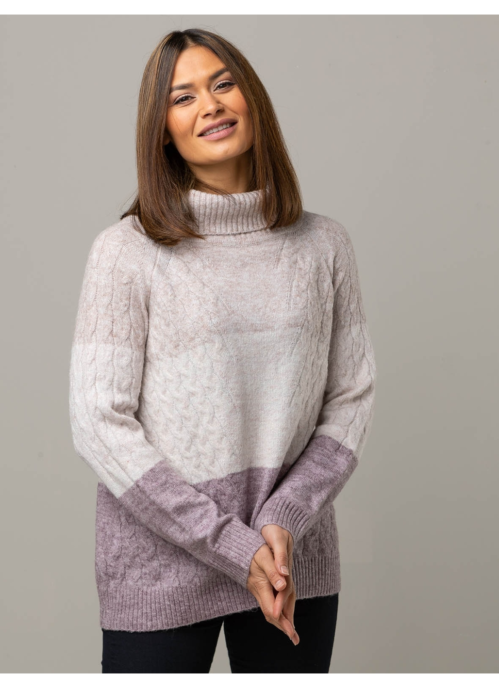 Ciara Colourblock Roll Neck Knit in Pink and Grey