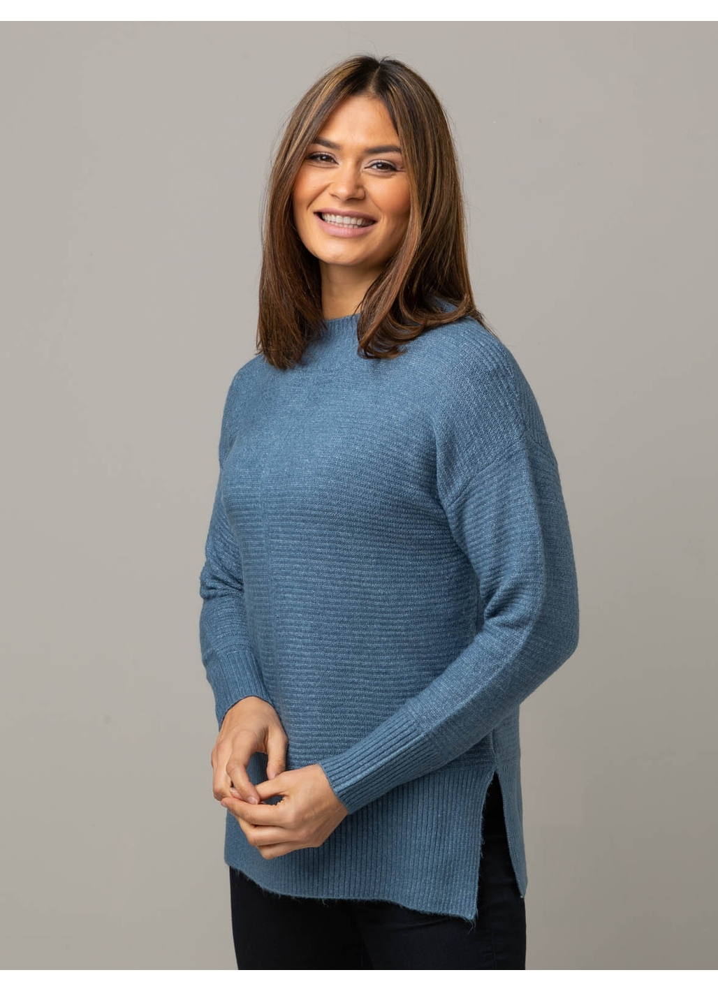 Hilary Knitted Jumper in Denim Blue