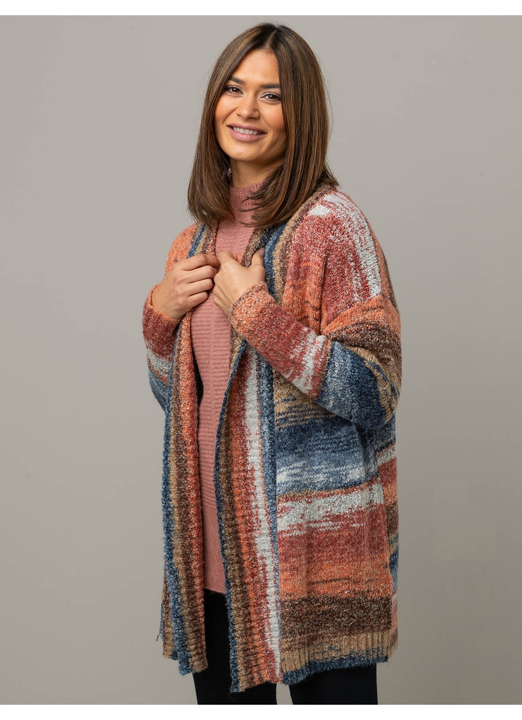 Gigi Edge to Edge Knitted Cardigan in Rust Stripe