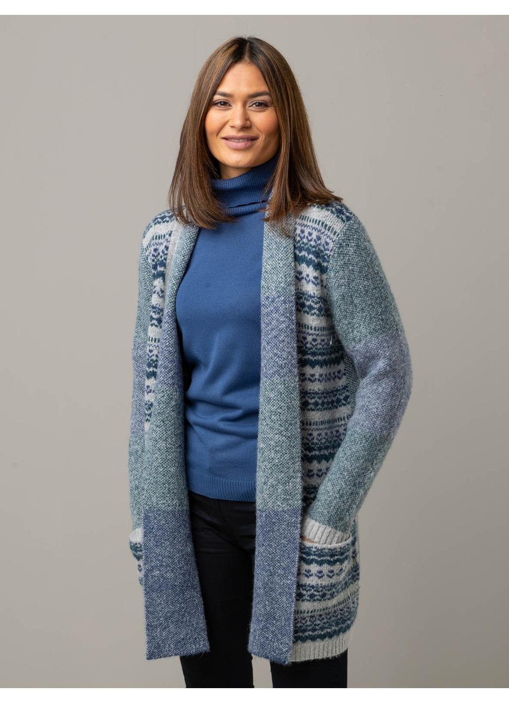 Darla Edge-to-Edge Knitted Cardigan in Grey