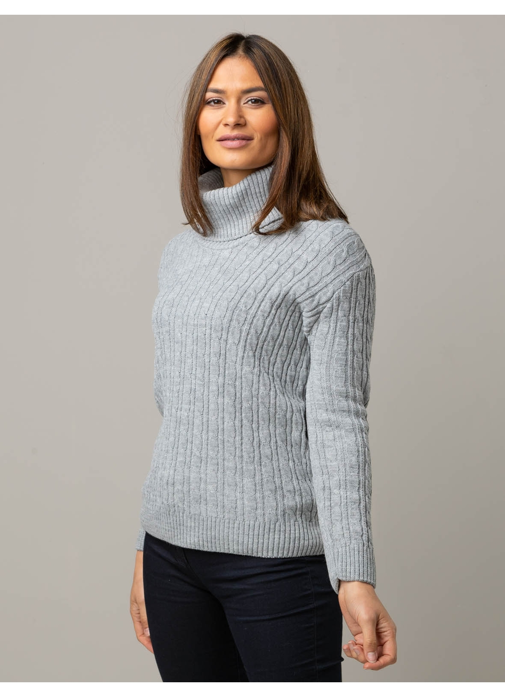 Mischa Cable Knitted Roll Neck Jumper in Grey