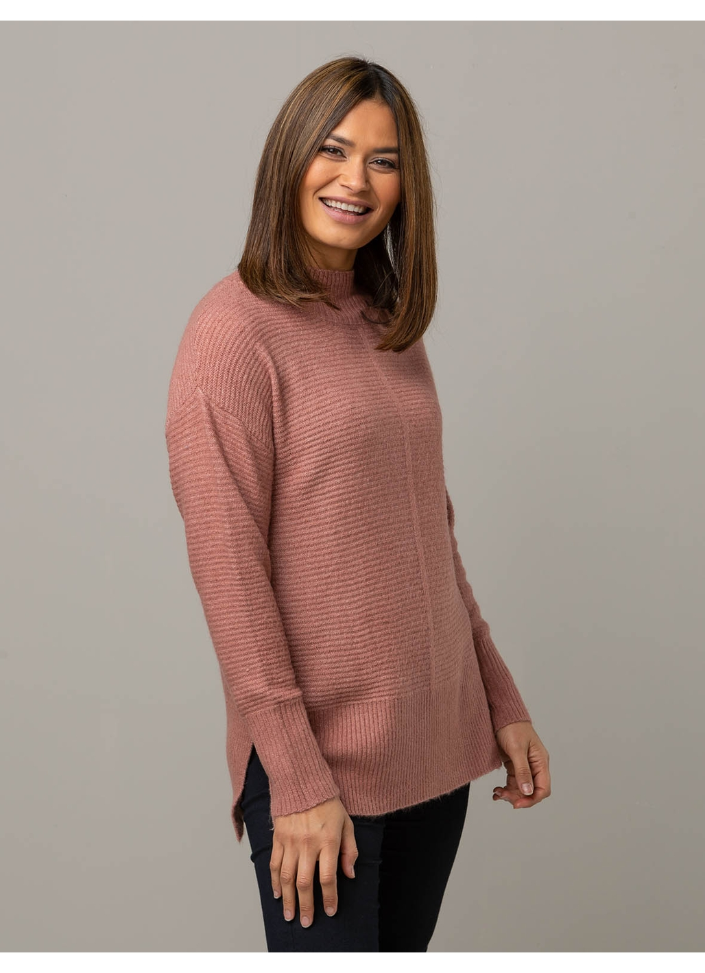 Heidi Ribbed Knitted Jumper in Rose